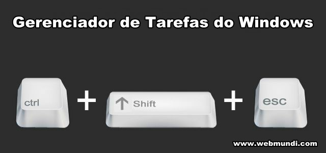 Gerenciador de Tarefas do Windows = Ctrl + Shift + Esc
