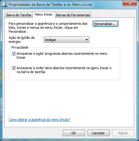 Como ativar o botão Executar no menu Iniciar do Windows 7