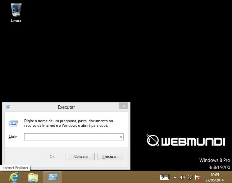 Acessando a opção executar para execução de Run commands no Windows 8 através do atalho de teclado Windows + R