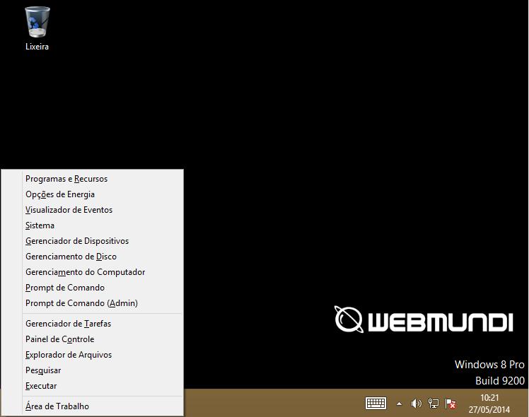 Acessando a opção executar no Windows 8 através do atalho de teclado Windows + X