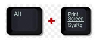 Alt + Print Screen para capturar tela ou janela específica