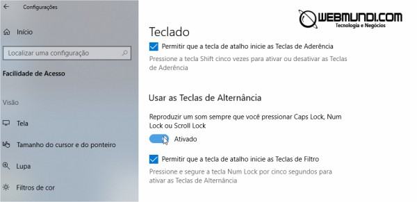 Bip sonoro no Windows 10 ao ligar as teclas Caps Lock, Num Lock e Scroll Lock
